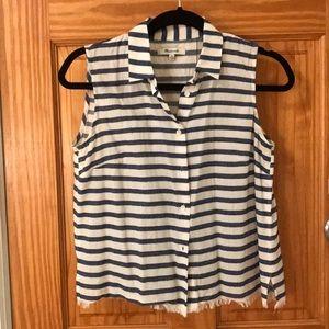 Madewell Striped Button Sleeveless Shirt